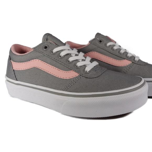 Maddie Canvas Grey Pink Kids Sneakers